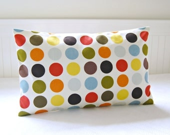 red yellow orange large dots retro cushion cover, spots lumbar pillow cover 12 x 16 / 18/  20 inch