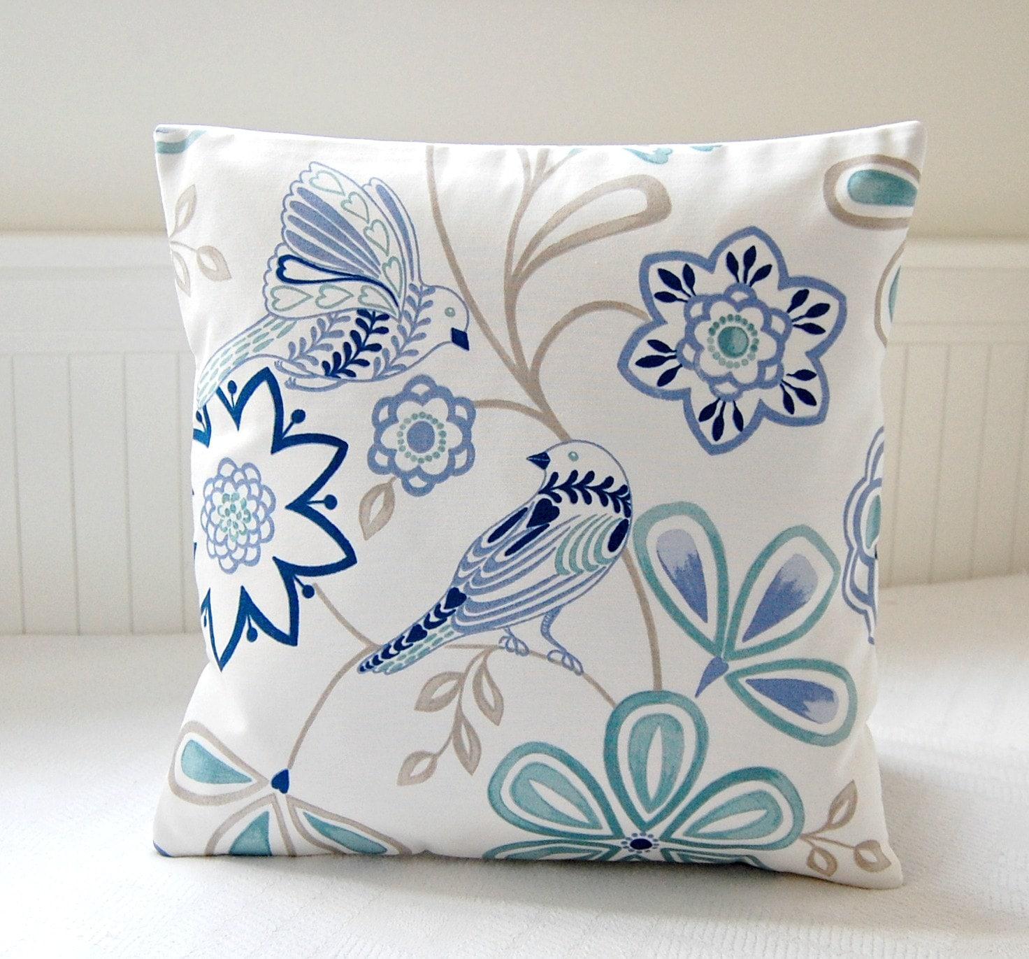 Teal Blue Decorative Pillows : birds decorative pillow cover blue teal navy flowers cushion
