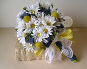 Country Rustic Silk White Daisy Wedding Bouquet with Denim Accents Perfect for Country, Rustic, Farm, Barn, Summer Wedding