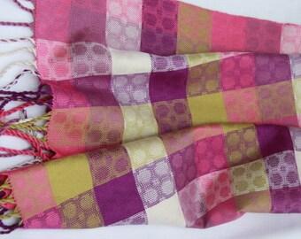 Tutti-Frutti Handwoven Silk Scarf (magenta edge)