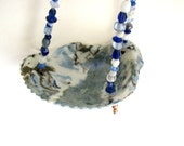 Colored Porcelain Small Sea Shell with Beads Hanging Vessel RKC091