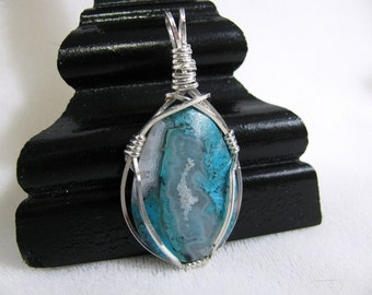 Druzy Gem Silica Sterling Silver Wire Wrapped RKS314