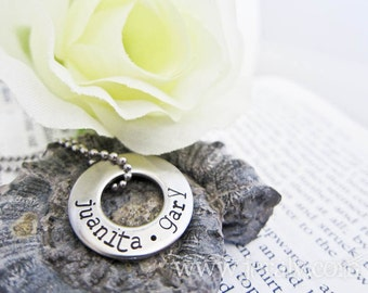 Industrial Hand Stamped Washer Necklace Keychain Custom Made for Moms or Dads - Personalized with Name on Chunky Stainless Steel Circle