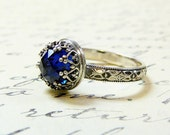 Roxy Ring - Beautiful Gothic Vintage Sterling Silver Floral Band Ring with Rose cut Blue Sapphire and Heart Bezel
