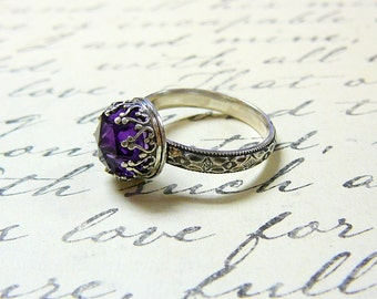Roxy Ring - Beautiful Gothic Vintage Sterling Silver Ring with Rose cut Purple Amethyst and Heart Bezel