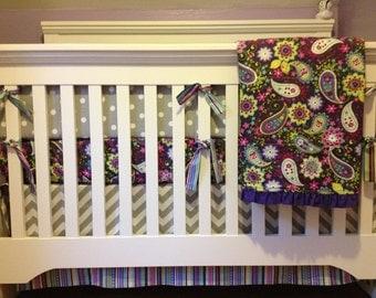 2 SHEETS, BUMPER, SKIRT - 4 Pc. Custom Baby Crib Bedding Set