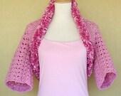 Pink Crochet Shrug Evening Prom Bridal Wrap Bolero Pink Ruffle Ribbon Edge