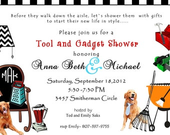 Wedding invitation, wedding shower invitation , custom wedding invitation, digital Tool and Gadget Party invitation