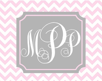 Custom personalized  notecards personalized note cards  monogram cards  monogram stationery grey chevron with name