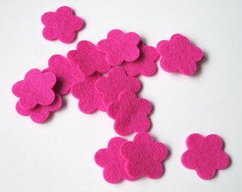 Pink Felt Flowers, Die Cut Shapes, 100% Wool, Set of 15 Flowers, Hair Clips, Party Supplies, Appliques, Confetti, DIY Wedding, Baby Shower