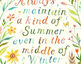 Summer Paper Print | Inspirational Wall Art | Thoreau Quote | Hand Lettering | Floral | Katie Daisy
