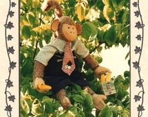 Abbey Lane 115 Minky MONKEY Pattern 20 Inch Banana Saleschimp Office Chimp Stuffed Animal Sewing Toy Pattern UNCUT