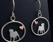 Pug Sterling Dangle Earrings with Tiny Heart
