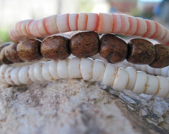 Mens Bracelet Set Wood Shell Bead Elastic Brown White Orange Under Construction Sale