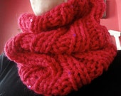 Big Rib Cowl Hand Knit Wool with Sequins and Sparkle - Magenta or Turquoise