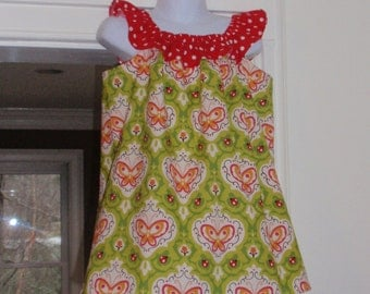 Ladybug Red and Green Ruffle Neck Dress, Size 3T
