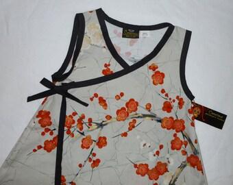 Cherry Blossom Dress -  Red Girl Dress -  Asian Baby Clothes - Flower Girl Dress-  Baby Wrap -  Kimono Dress - Girl Dress nb, 6m, 12m, 18m
