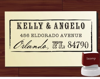 Calligraphy Handwriting Script Custom Return Address Stamp - Personalized SELF INKING Wedding Stationery Stamper - Style 6042ADDRESS