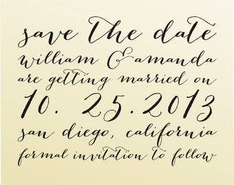 Save the date modern design calligraphy handwriting script font rubber