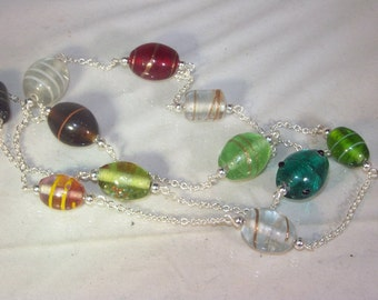 Lampwork Glass Necklace - Multicolored - 32 inches