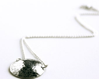 Necklace - Sterling Silver Moon Necklace - Hammered Sterling Silver - Everyday Necklace - Disc Stamped Circle Chain Dome