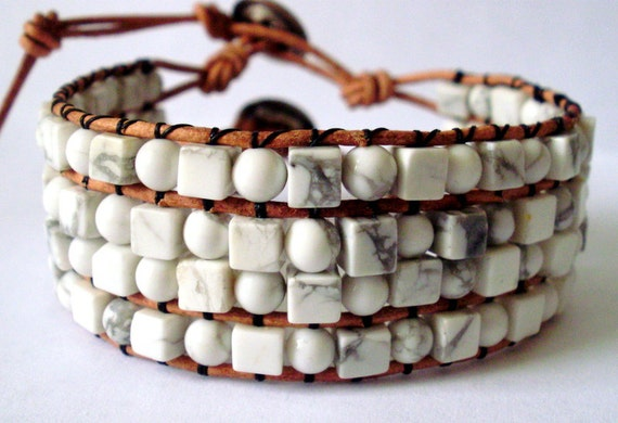 Beaded leather wrap bracelet or cuff - white howlite stone with button clasp