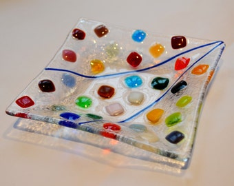 Colorful squares on square plate by YafitGlass