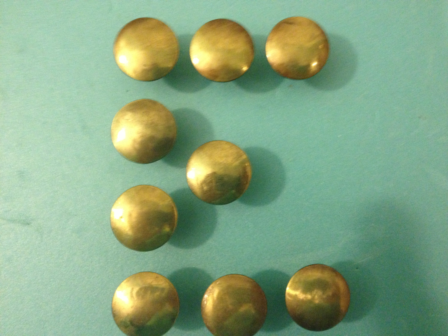 1 small brass finish button knob cabinet knob antique for Small cabinet pulls