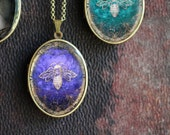 Solid Natural Perfume Locket with Honey Bee Artwork in an Amethyst Purple - Nature Girl - Victorian Inspired Art Locket