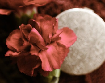 Aurora Solid Natural Perfume Round Compact, inspired by Carnations - Luxury, Organic fragrance, perfect for travel - Bridal Perfume