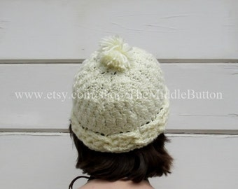 Megan - Cabled Hat - In Buttercream