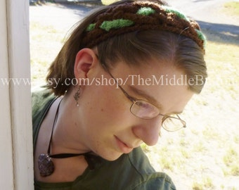 The Jean - Celtic Knot Headband - In Chocolate and Mint