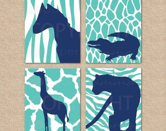 Safari Animal Silhouette Prints // 4 Print Set // Nursery / Kids Room Giclée Art Prints // N-G40-4PS AA1