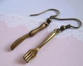 Mini Knife Earrings, Tiny Fork Earrings, Miniature Knife Fork Jewelry, Antiqued Brass Tableware Cute Accessories