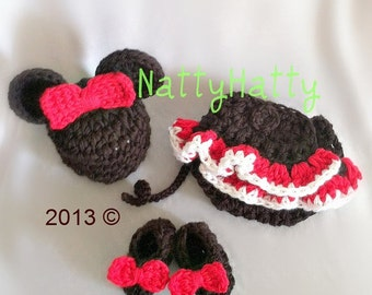 Minnie  Mouse set   Hat and diaper cover skirt and shoes Newborn -12 month