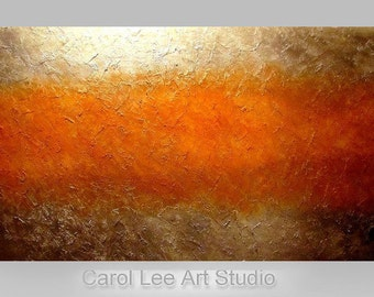 """PALETTE KNIFE original abstract painting large 48"""" acrylic brown gold modern fine art canvas  contemporary wall art made to order Carol Lee"""
