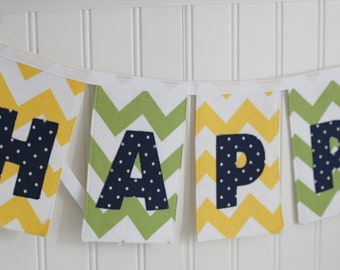 Yellow, Green, and Navy Chevron Fabric Birthday Banner, birthday decoration for boys or girls, gender neutral