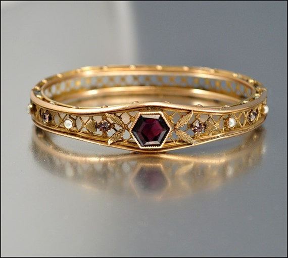 Vintage oval ruby and diamond engagement ring diamond engagement - Edwardian Bracelet Antique Jewelry Gold Bangle Pearl Amethyst