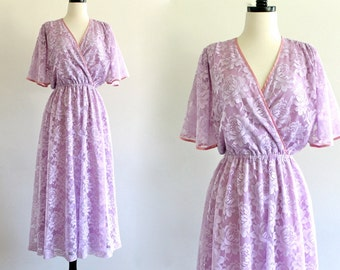 70s Halston III Purple Lace Overlay Flutter Bridesmaid Wedding Bridal Angel Maxi Gown Dress . XS . SM . D034 No.328.5.29.13