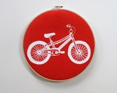 Bicycle Hoop Art -  Home Decor - Screen printed Nursery Decor Wall Art by Sweetnature Designs - Choose your fabric and ink color