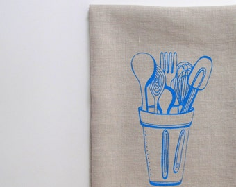 Linen Tea Towel - Kitchen Towel - Kitchen Tools design - Choose your fabric and ink color