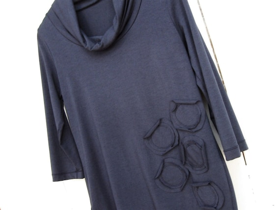 Navy Blue Bamboo Turtleneck Circle Top - On sale