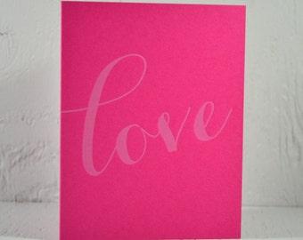 SALE - Letterpress Valentine - love - white ink on fuchsia - valentines, wedding, anniversary