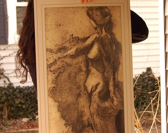 Woman nude poster of an etching - fine art poster
