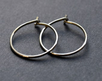Tiny Hoop Earrings. Modern Contemporary Simple Sleek Elegant Design. Sterling Silver Jewelry. Handmade by Epheriell on Etsy.