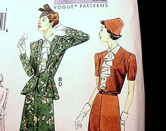 1930s Dress Pattern Vogue Retro Pattern Misses size 8 10 12 14  UNCUT Womens Dress with Jacket Sewing Pattern