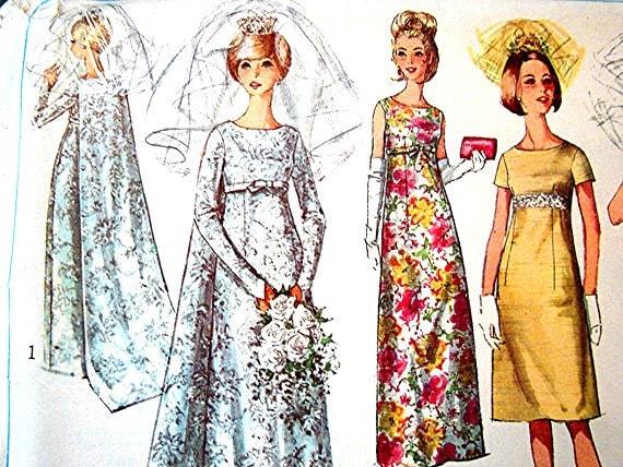 Vintage 1960s Wedding Dress Pattern Simplicity Empire Waist
