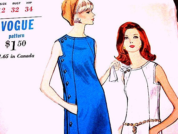 Vogue Vintage 1960s Dress Pattern Misses size 12 UNCUT Sewing Patterns