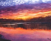 Sunset Lake Watercolor Original Landscape Painting by Cathy Hillegas, Sunset 6, class demo, landscape, yellow, orange, red, purple, blue