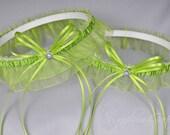 Wedding Garter Set in Apple Green with Swarovski Crystals